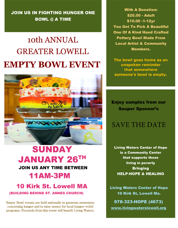 10th ANNUAL GREATER LOWELL EMPTY BOWL EVENT